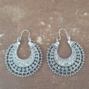 Silver Etched Drop Hoop Earrings